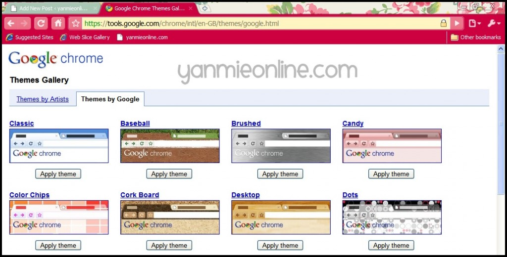 how to make google chrome themes online
