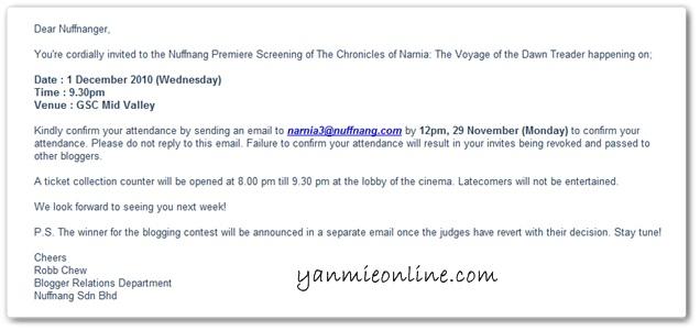 invitation from nuffnang