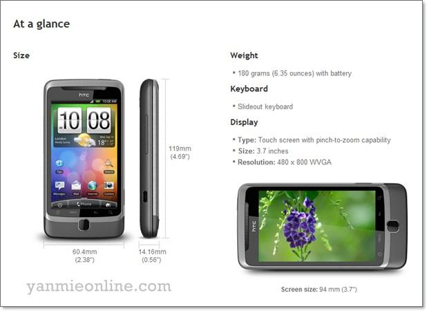 spesification HTC Desire Z