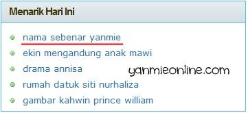 nama sebenar yanmie