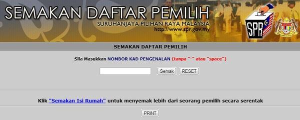 Semak Daftar Pemilih Secara Online di Laman Portal PRU13